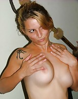 Amateur with huge tits takes off her clothes and they love to fuck.